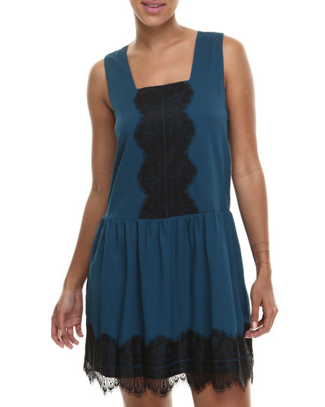 Fashion Lab - Women Teal Camie Sleeveless Woven Dress W/Drop Waist