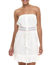 Fashion Lab - On the Range Strapless Woven Dress w/ruffle trim