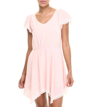 Fashion Lab - Baby Doll Cap Sleeve Lace Trim Dress