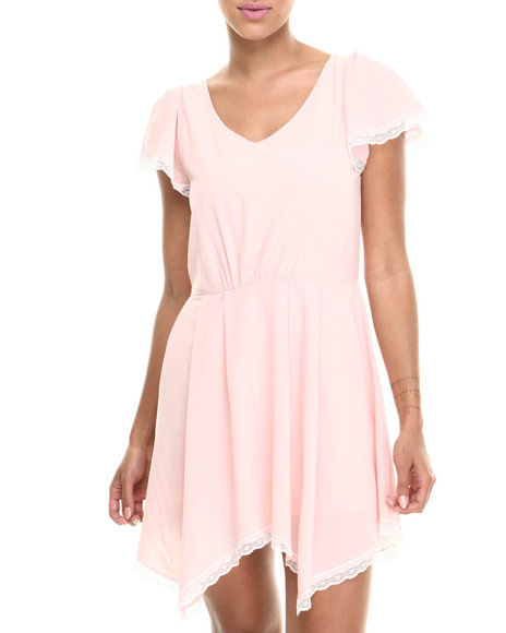 Fashion Lab - Women Pink Baby Doll Cap Sleeve Lace Trim Dress