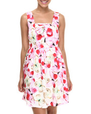 Dresses - Butterfly Print Sleeveless Dress