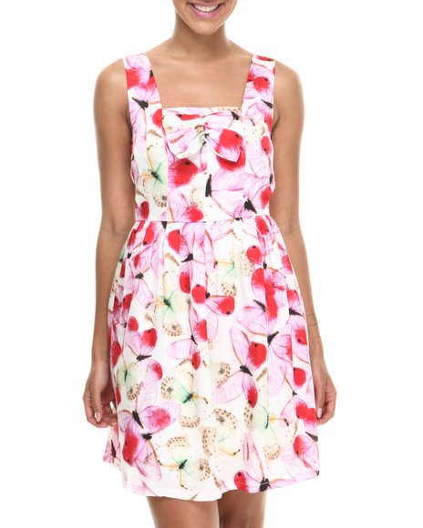 Fashion Lab - Women Pink Butterfly Print Sleeveless Dress