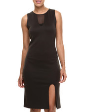Women - Sheer Insert Sexy Midi Dress