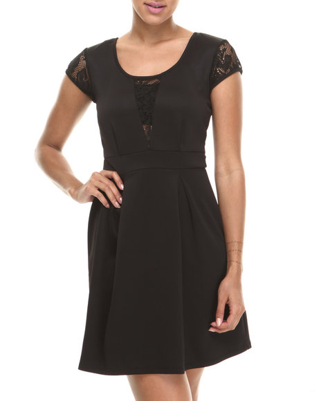 Paperdoll - Women Black Lace Trim Cap Sleeve Skater Dress