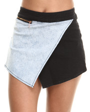 Women - Wrap Front Denim Zip Skort