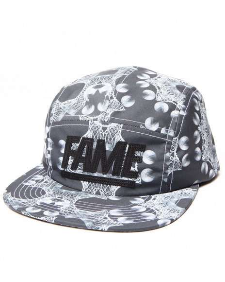 Hall Of Fame Leather Block Camper 5-Panel Cap Black