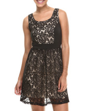 Dresses - Sleeveless Lace Overlay Dress