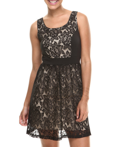 Paperdoll - Women Beige,Black Sleeveless Lace Overlay Dress - $20.99