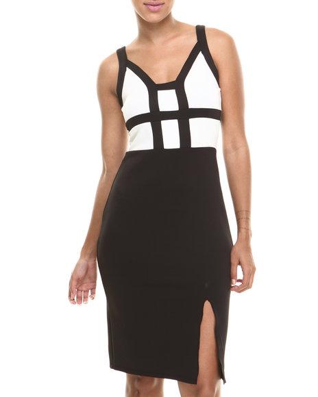 Paperdoll Black,White Banded Bodice Scuba Slit Sheath Dress