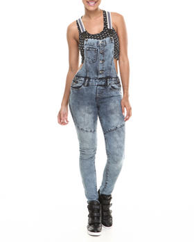 Fashion Lab - Four Front Buttons Acid Wash Denim Overall