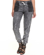 Fashion Lab - Mixed Media Pocket Chambray Jogger Pant