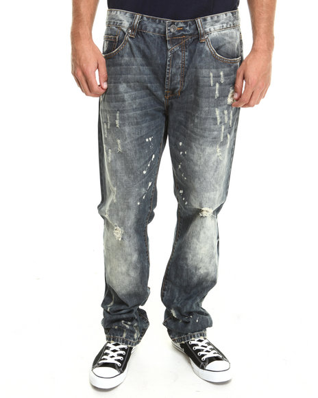 Kilogram - Men Dark Wash Built Dusty - Wash Denim Jeans