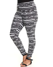 Leggings - Printed Rouched Ankle Leggings (plus)