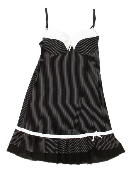 Drj Lingerie Shoppe - Women Black,White Tuxedo Stripe Chemise (Plus)