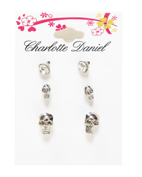 Drj Accessories Shoppe Women 3-Pair Stone & Skull Stud Card Set Silver - $4.99