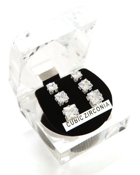 Drj Accessories Shoppe Men Boxed 3-Size Set Square Cz Earrings Silver