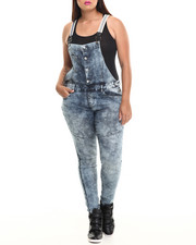 Fashion Lab - Four Front Buttons Acid Wash Denim Overall (Plus)