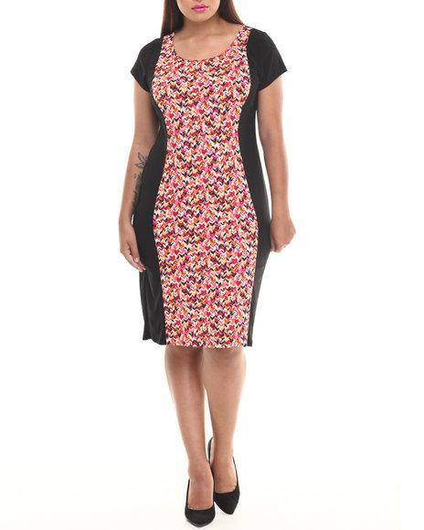 Paperdoll Black,Multi Tribal Print Solid Back Midi Dress (Plus Size)