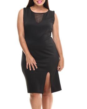 Paperdoll - Sheer Insert Sexy Midi Dress (Plus)