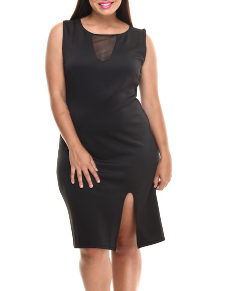 Paperdoll - Women Black Sheer Insert Sexy Midi Dress (Plus) - $18.99