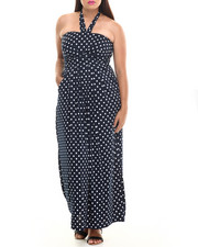 Dresses - Mod Dot Halter Maxi Dress (Plus)