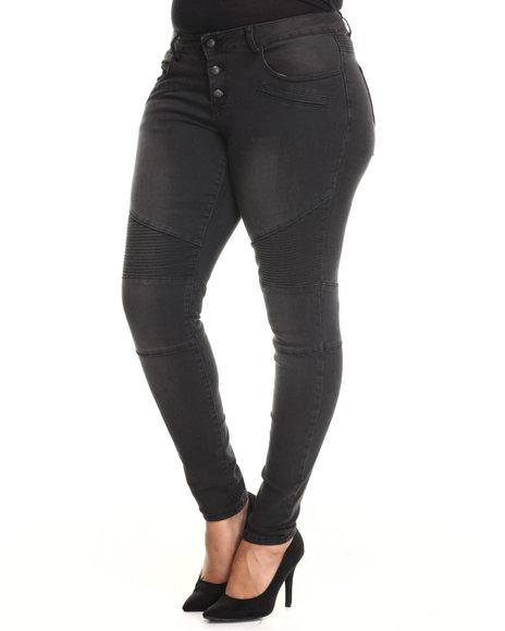 Fashion Lab - Women Black High Waist Whip-Stitch Thigh Detail Denim Jean (Plus)