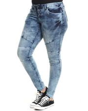 Fashion Lab - High Waist Whip-Stitch Thigh Detail Denim Jean (Plus)