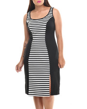 Dresses - Striped Colorblock Sleeveless Midi Dress (Plus)