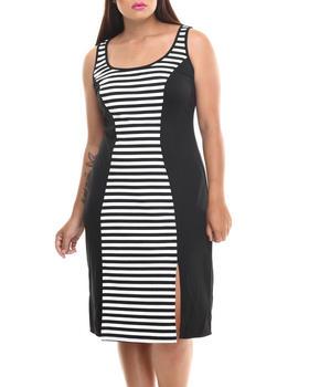 Paperdoll - Striped Colorblock Sleeveless Midi Dress (Plus)