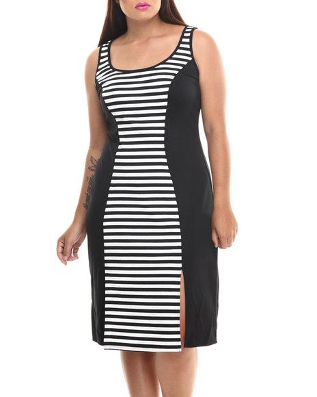 Paperdoll Black,White Striped Colorblock Sleeveless Midi Dress (Plus Size)