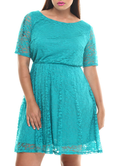 Fashion Lab - Women Teal Lace 3/4 Sleeve Skater Dress (Plus)