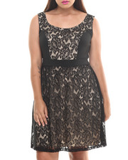 Women - Sleeveless Lace Overlay Dress (Plus)