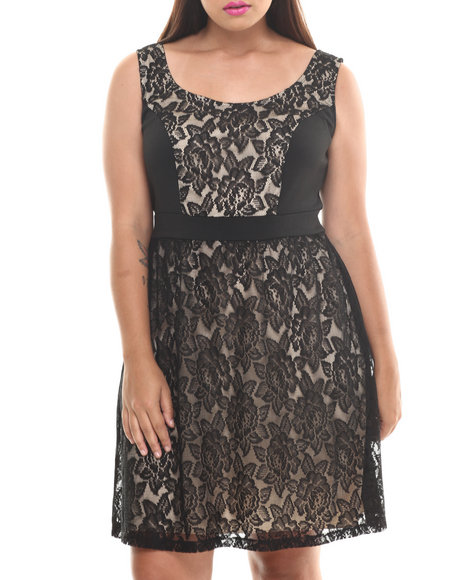 Paperdoll Beige,Black Sleeveless Lace Overlay Dress (Plus Size)