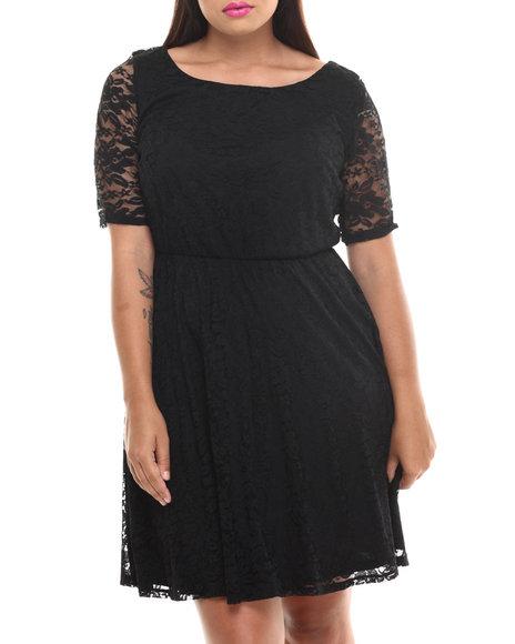 Paperdoll Black Lace 3/4 Sleeve Skater Dress (Plus Size)