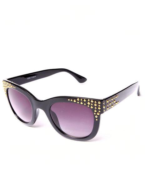 Drj Sunglasses Shoppe Women Golden Studs Cat Eye Sunglasses Black