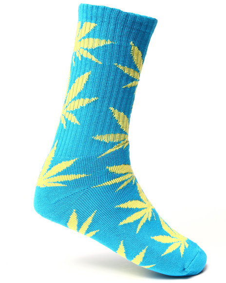 Huf Men Glow In The Dark Plantlife Crew Socks Blue