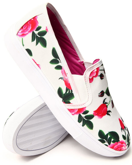 Y.R.U. - Women Black Chill Floral Slip On Sneaker
