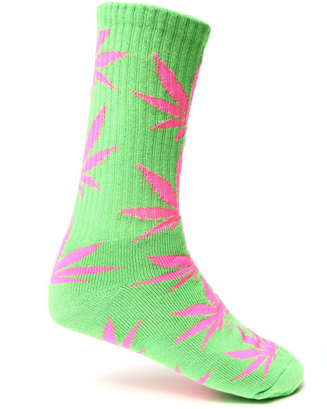 Huf Men Glow In The Dark Plantlife Crew Socks Green