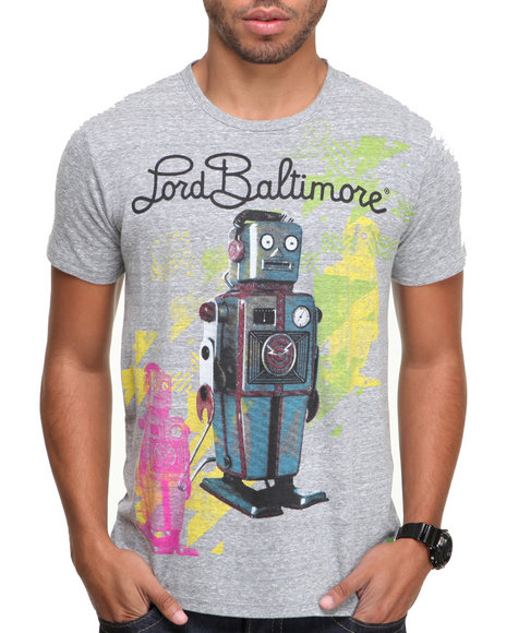 Djp Outlet - Men Grey Lord Baltimore Neon Wind Me Up Tee - $49.99