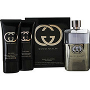 Men - GUCCI GUILTY POUR HOMME EDT SPRAY 3 OZ & AFTERSHAVE BALM 1.6 OZ & ALL OVER SHAMPOO 1.6 OZ (TRAVEL OFFER)