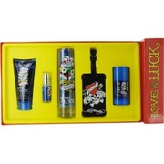Men - ED HARDY LOVE & LUCK EDT SPRAY 3.4 OZ & HAIR AND BODY WASH 3 OZ & DEODORANT STICK ALCOHOL FREE 2.75 OZ & EDT SPRAY .25 OZ MINI & LUGGAGE TAG
