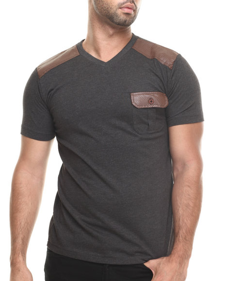 Aknowledge Grey Faux Leather Knit S/S Pocket V-Neck Tee