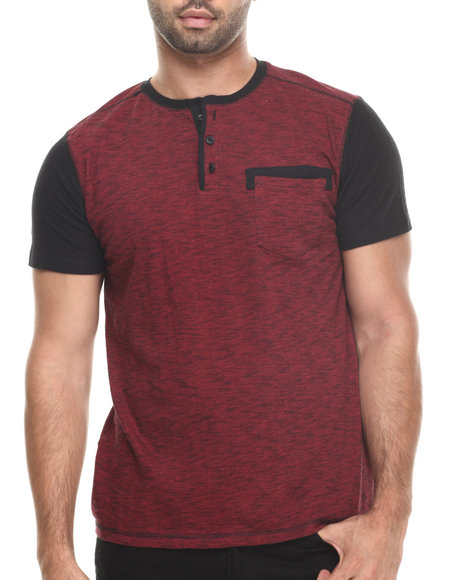 Buyers Picks - Men Red Henley Novelty Pocket S/S Tee