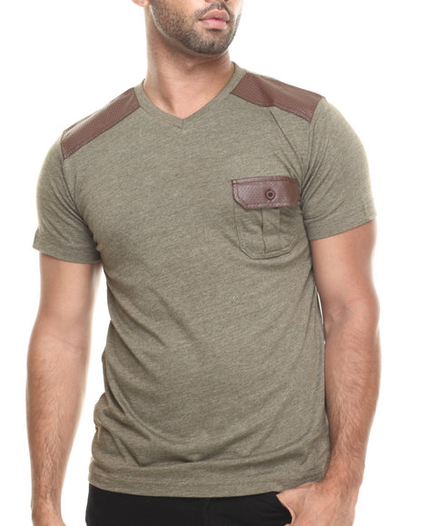 Aknowledge - Men Forest Green Faux Leather Knit S/S Pocket V-Neck Tee
