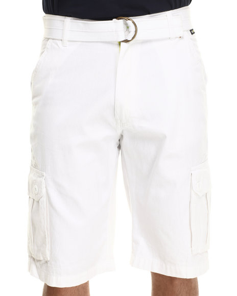 Akademiks - Men White Herringbone Twill Shorts - $24.99