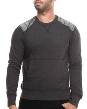 Men - Fleece Chambray Detail Crewneck Sweatshirt