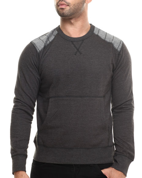Buyers Picks - Men Charcoal Fleece Chambray Detail Crewneck Sweatshirt