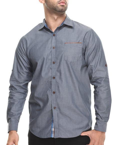 Buyers Picks - Men Navy Chambray/Faux Leather L/S Button Down Shirt