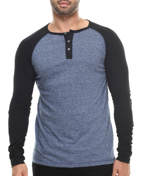 Buyers Picks - Men Blue Maerick L/S Henley Shirt
