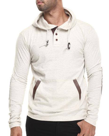 Buyers Picks - Men Off White Faux Leather Trim Novelty Pullover Hoodie